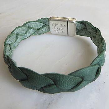 Green Personalised Plaited Leather Bracelet