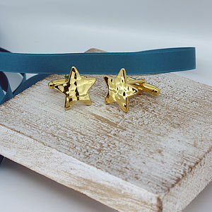 Star Cufflinks Gold Plated Silver - men's jewellery