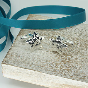 Star Shaped Cufflinks In Hammered Silver - men's jewellery