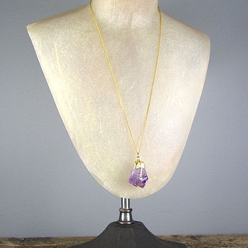 Amethyst Nugget Necklace Gold