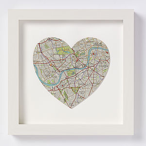 West London Map Heart Print