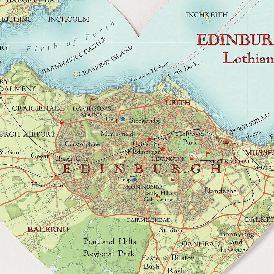 edinburgh map heart print graduation by bombus off the peg