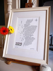 Scottish Golf Map - gifts for golfers