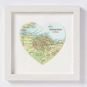 Edinburgh Map Heart Print