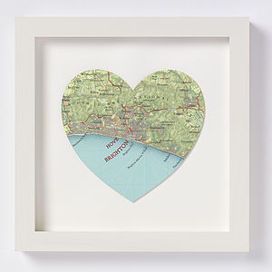 Brighton Map Heart Print