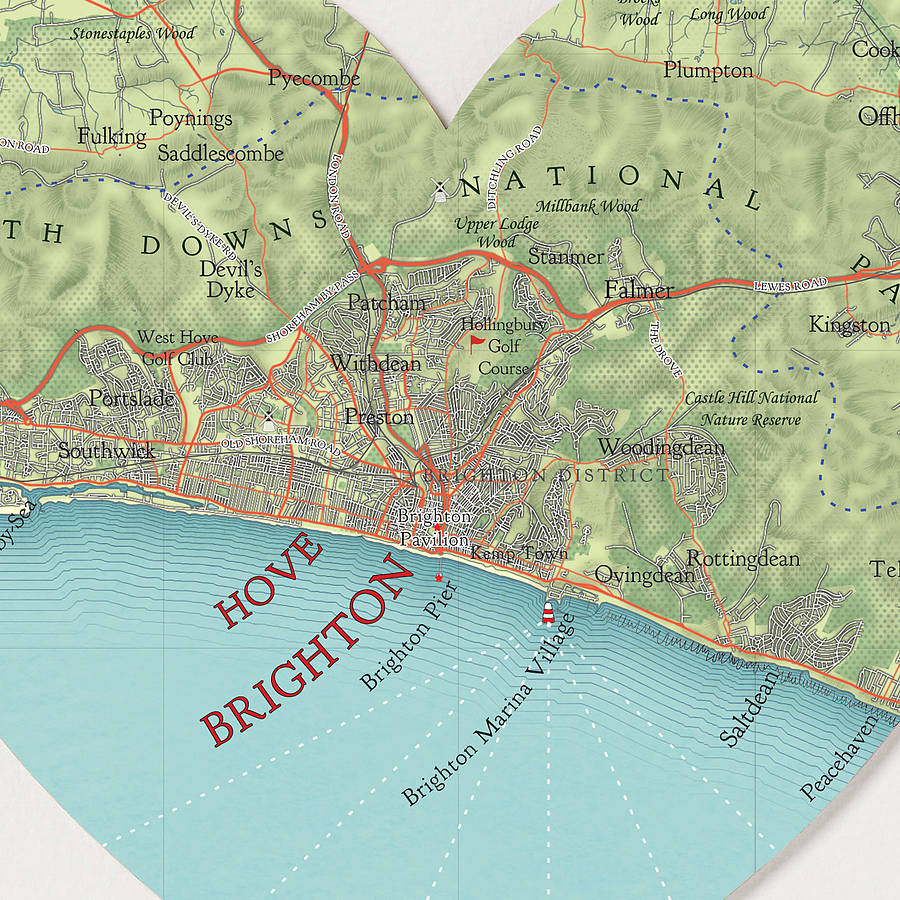 brighton map heart print by bombus off the peg notonthehighstreetcom