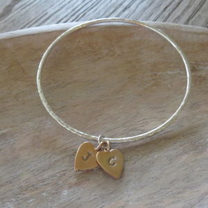 Hammered Silver Bangle With Rose Gold Heart