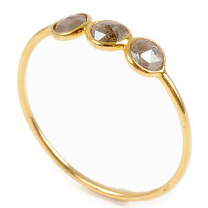 The Perfect Engagement Rosecut Diamond Trio Gold Ring - gold & diamonds