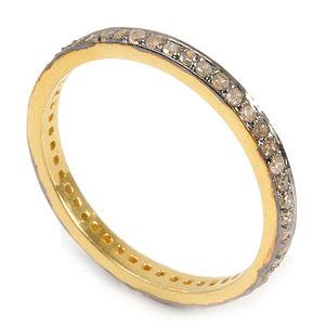 Wedding Antique Silver Diamond Eternity Band - gold & diamonds