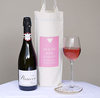 Personalised 'Mr And Mrs' Wedding Bottle Bag