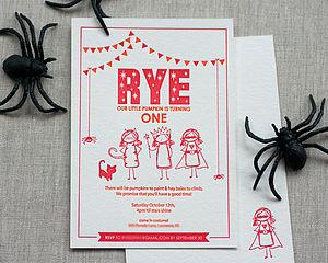 Halloween Letterpress Birthday Invitation - children's party invitations