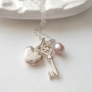 Heart Locket And Key Necklace