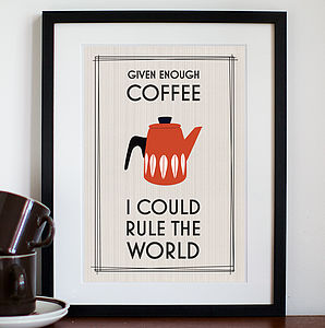 Retro Coffee Print - gifts for her sale