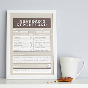 Personalised Grandad / Grandpa Report Card