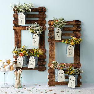 Wooden Wedding Table Plan - rustic autumn wedding styling