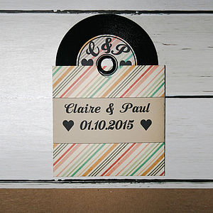 Retro Inspired Vinyl CD Wedding Invitation - wedding stationery