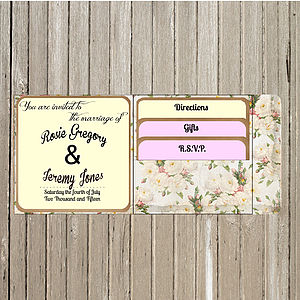Vintage Inspired Floral Pocket Fold Invite - wedding stationery