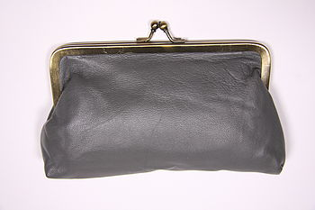 Large leather purse slate grey