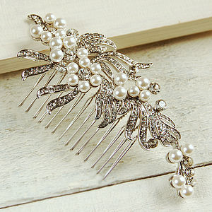Large Ribbon Pearl Hair Comb - wedding jewellery