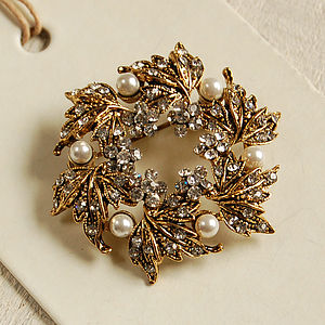 Golden Wreath Brooch - pins & brooches
