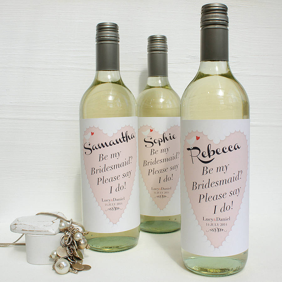 Personalised Bridemaid Wine Labels By Birdyhome