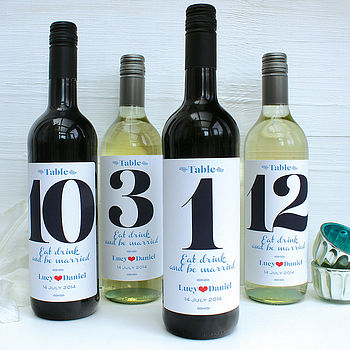 personalised wedding table number wine labels by birdyhome