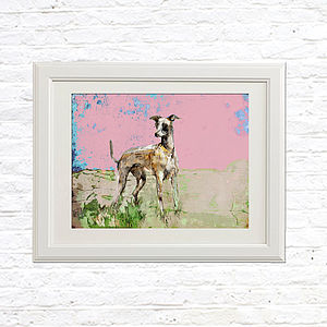 Whippet Limited Edition Signed Print - canvas prints & art for children