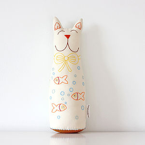 Embroidered Cat Soft Toy - toys & games