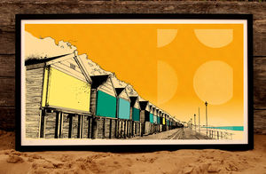 Limited Edition Beach Huts Print - architecture & buildings