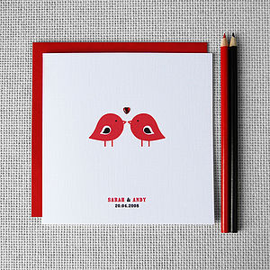 Personalised 'Love Birds' Couples Card - wedding cards