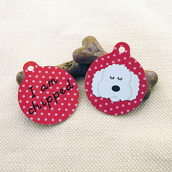 Poodle 'I am Chipped' Pet ID Tag