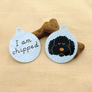 Cockapoo/Labradoodle 'I Am Chipped' Pet ID Tag - dog tags & charms
