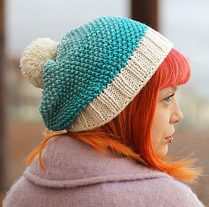 Hand Knitted Ombre Bamboo Wool Mix Hat