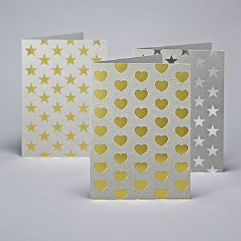 Gold Hearts Greetings Card