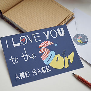 Love You To The Moon Postcard And Sticker