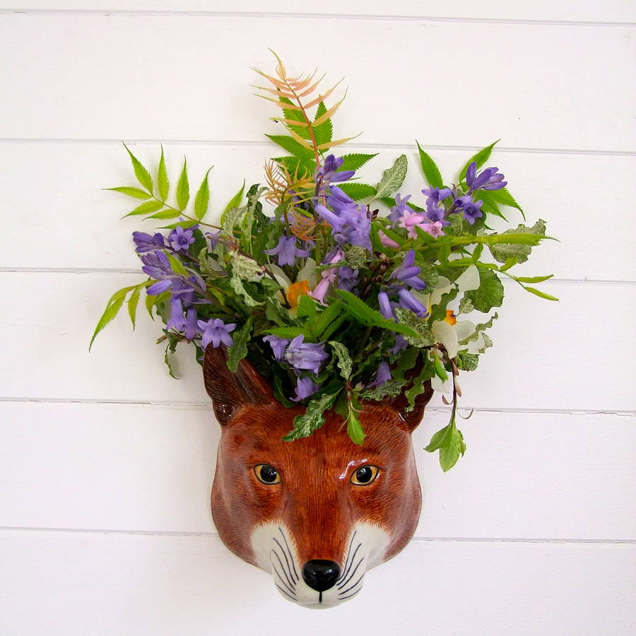 Home & Glory Sly Fox Ceramic Wall Vase