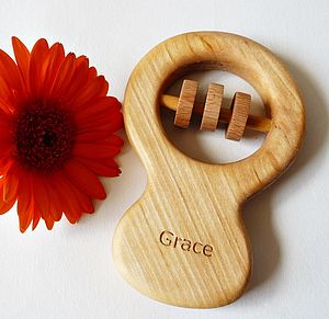 Personalised Organic Classic Rattle - traditional toys & games