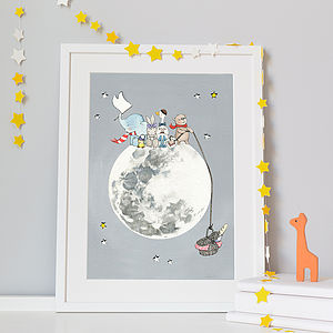 Personalised Picnic On The Moon Nursery Print - canvas prints & art for children
