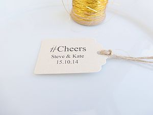 Personalised Hashtag Cheers Favour Tags - wedding favours