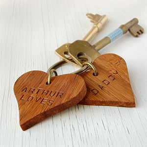 Personalised 'Daddy' Wooden Heart Keyring