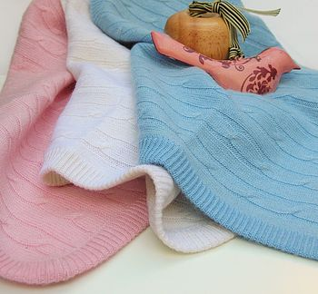 100% Cashmere Cable Knit Baby Comforter Comfort Blanket