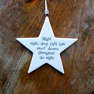 Sweet Dreams Star Decoration - keepsakes