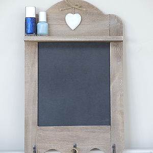 Wooden Chalk Board With Hooks And Shelf - art & pictures