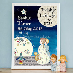 Personalised Twinkle Twinkle Art Print - gifts for babies & children sale