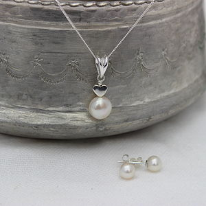 White Pearl Pendant With 6mm Stud Set - jewellery sets