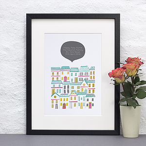 Colourful New Home Personalised Print