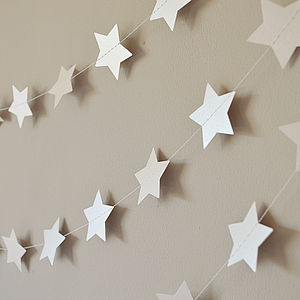 White Shimmer 5cm Stars Paper Garland - room decorations