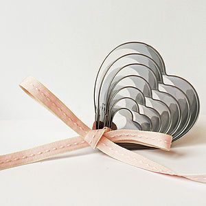 Set Of Seven Steel Heart Cookie Cutters