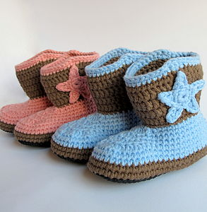 Hand Crochet Non Slippery Toddler Cowboy Boots