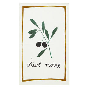 Black Olive Linen Tea Towel